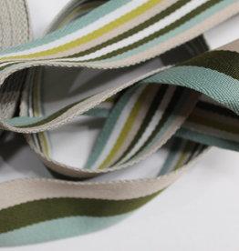 Tassenband double face groen gestreept 40mm