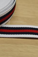 Tassenband gestreept  wit/navy/rood 30mm