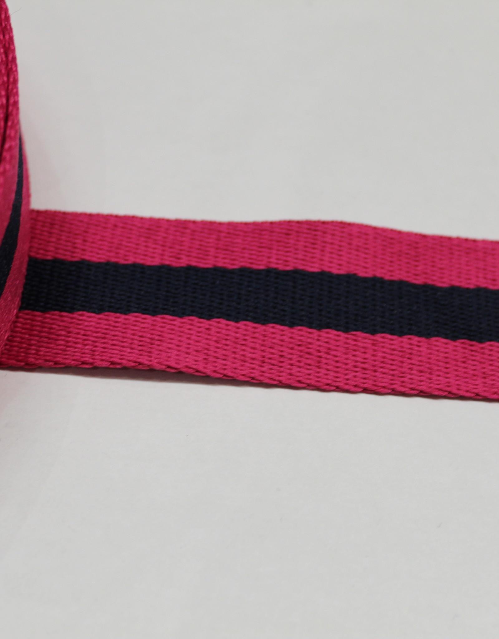 Tassenband gestreept  fuchsia/marine 30mm