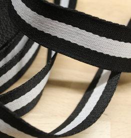 Tassenband gestreept wit/zwart 30mm