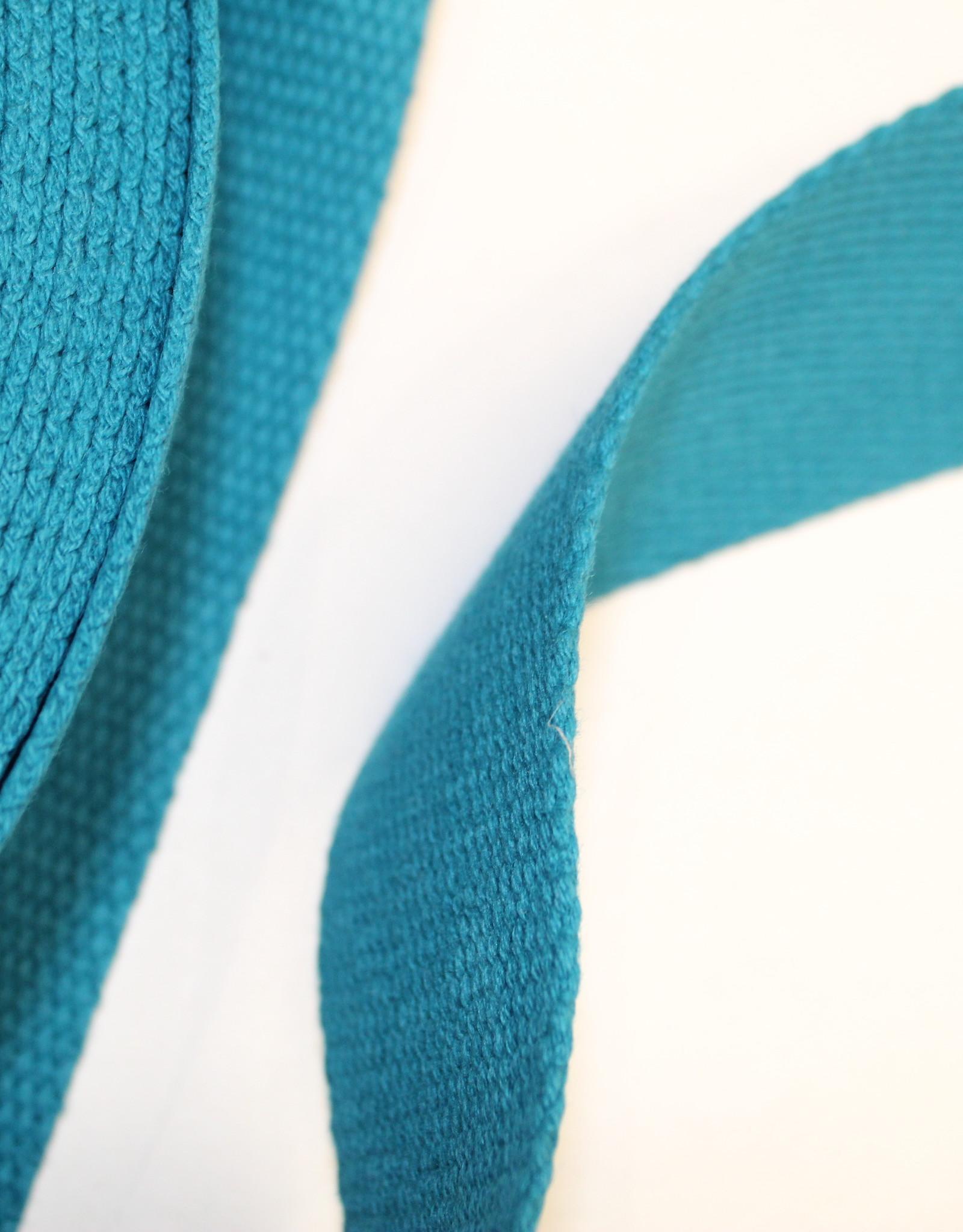 Tassenband katoen aqua 40mm