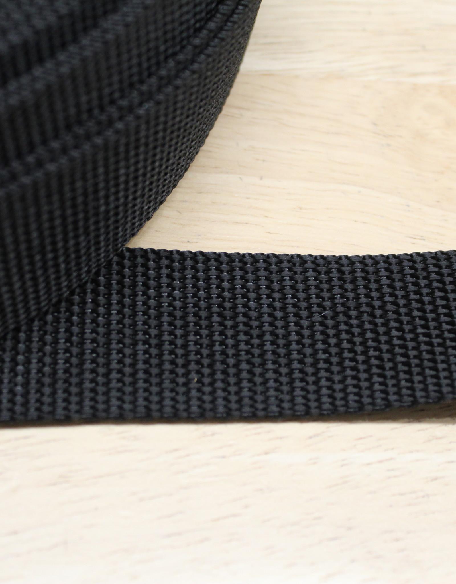 Tassenband nylon zwart 30mm