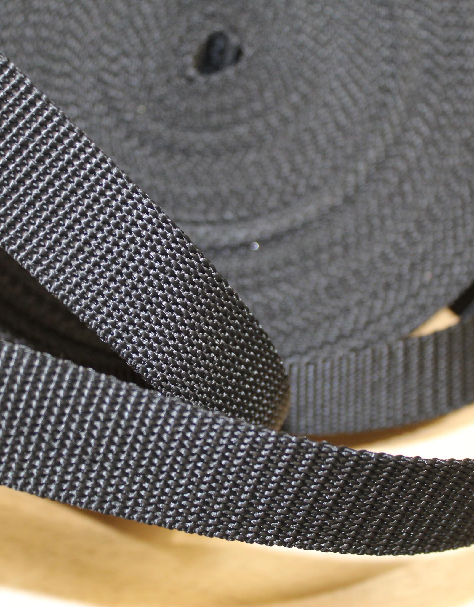 Tassenband nylon zwart 25mm