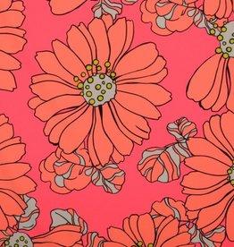 Lycra neon pink retro flower print
