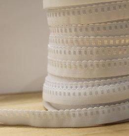 Lingerie elastiek  vouwtresse met kantje 10mm wit