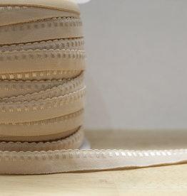 Lingerie elastiek  vouwtresse met kantje 10mm beige