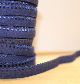Lingerie elastiek  vouwtresse met kantje 10mm blauw