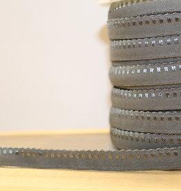 Lingerie elastiek  vouwtresse met kantje 10mm grijs
