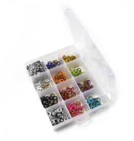 Box met 150 jersey drukknopen 11mm in 10 verschillende kleuren