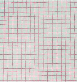 Rico Design Tafelzeil Check Karo wit/neonrose 25x70cm
