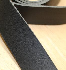 Echt Lederen Riem in tuigleer Zwart 30mm ca 140cm lengte