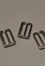 Bikini/bh haakjes sluiting 15mm zilver metaal