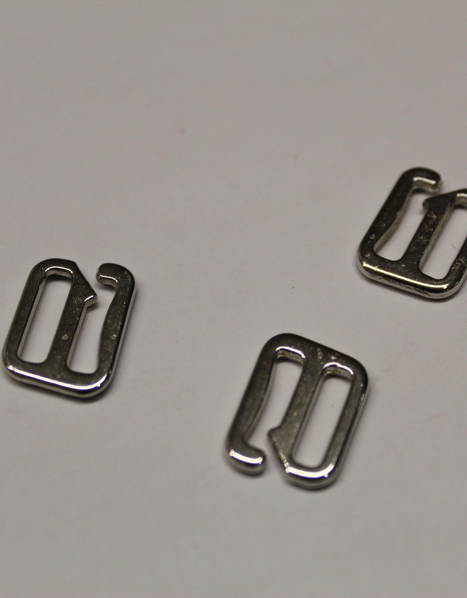Bikini/bh haakjes sluiting 13mm zilver metaal