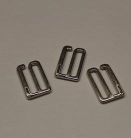Bikini/bh haakjes sluiting 20mm zilver metaal