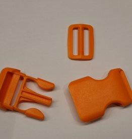Klikgesp + schuiver oranje 25mm