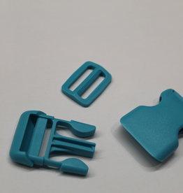 Klikgesp + schuiver turquoise 25mm