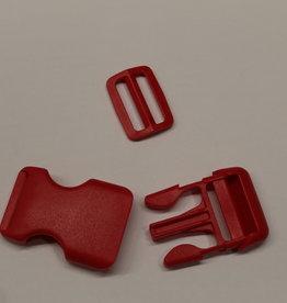 Klikgesp + schuiver rood 25mm