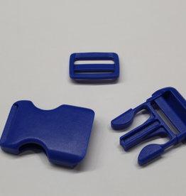 Klikgesp + schuiver kobalt 25mm