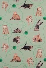 Digital print tricot cats poezen dusty mint