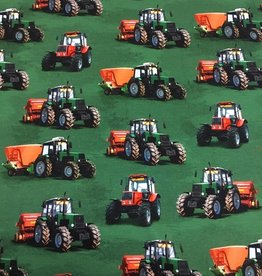 Digital print tricot tractors green