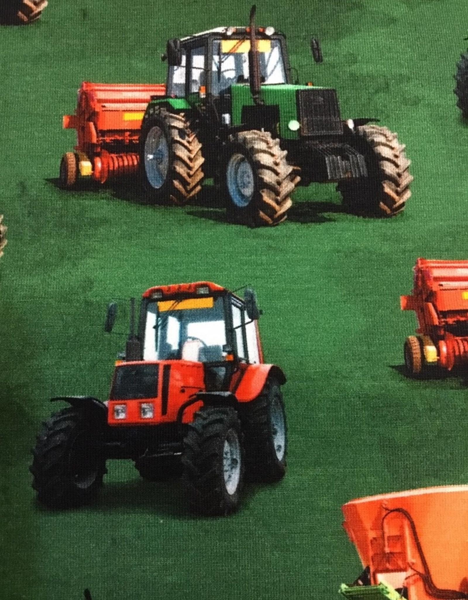 Digital print tricot tractors green
