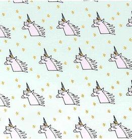 COUPON Eenhoorn unicorn katoen mint/goud 70x140cm