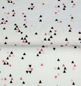 Poplin wit met driehoekjes roest