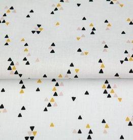 Poplin wit met driehoekjes oker