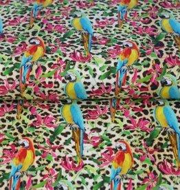 Poplin dierenprint met tropische papegaaien