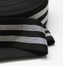 elastiek gestreept zwart - zilver lurex 40mm
