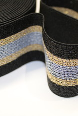 elastiek gestreept zwart - goud/zilver lurex 40mm