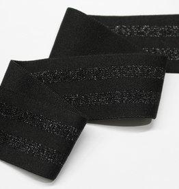 elastiek gestreept zwart/lurex 40mm
