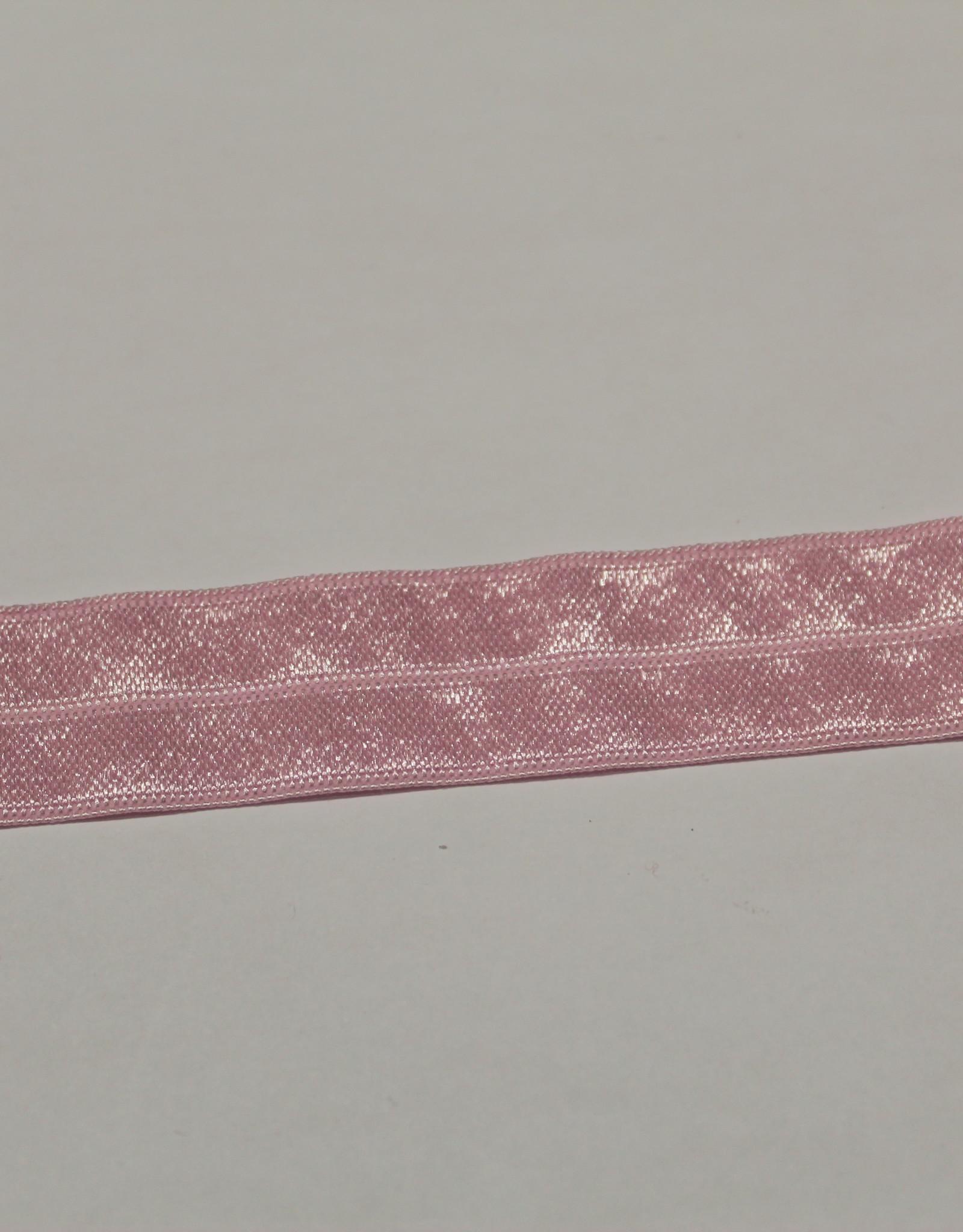 Elastisch biais - lint met vouwlijn glanzend lichtroze