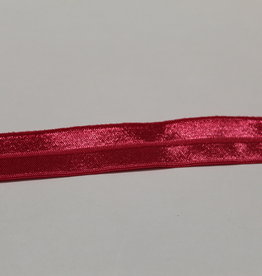 Elastisch biais - lint met vouwlijn glanzend fuchsia