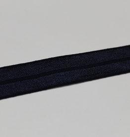 Elastisch biais - lint met vouwlijn glanzend navy