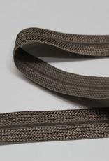 Elastisch biais - lint met vouwlijn gestructureerd taupe 19mm