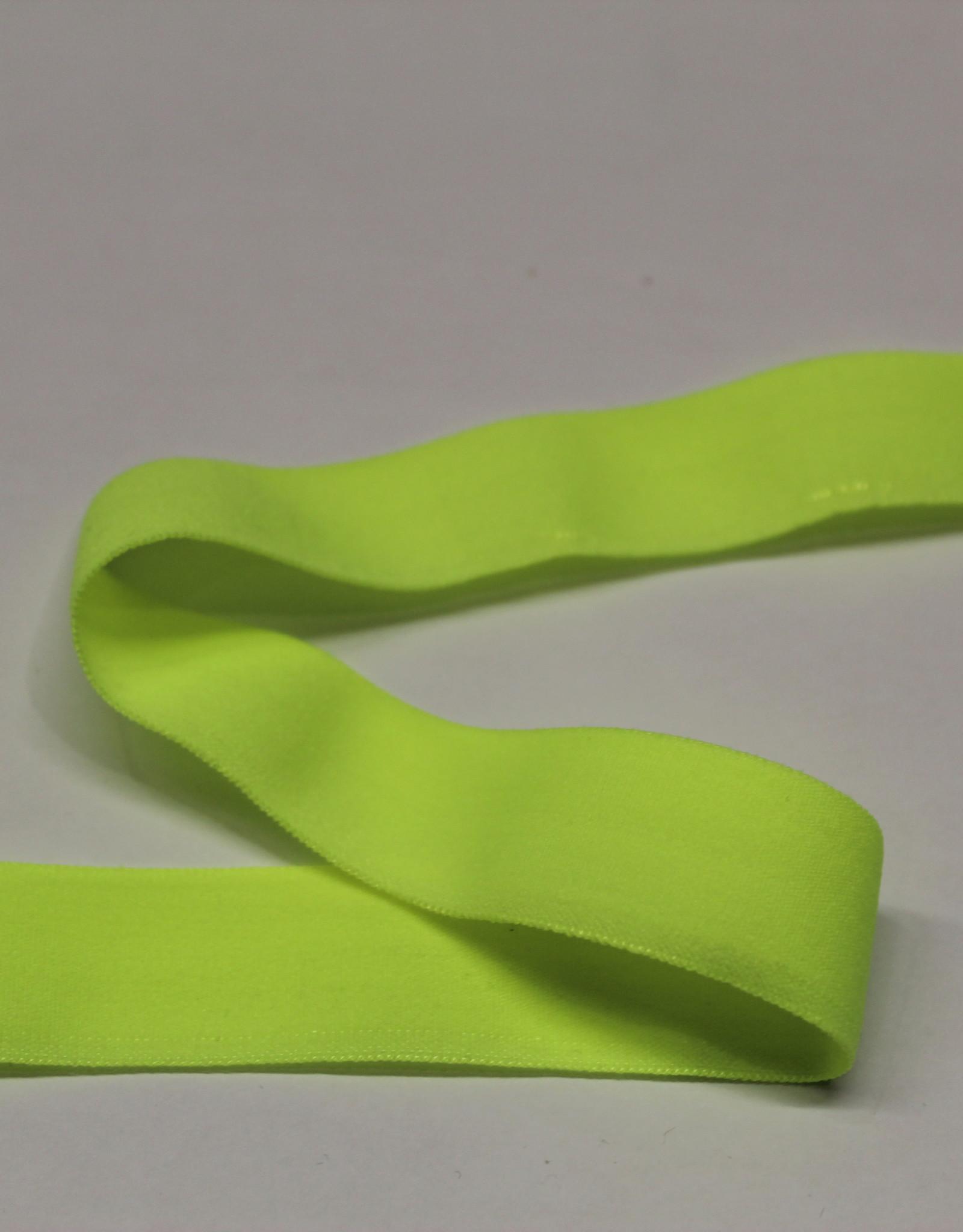 Elastisch biais - lint met vouwlijn neon fluo geel 19mm