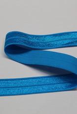 Elastisch biais - lint met vouwlijn glanzend aqua 15mm
