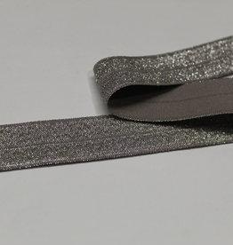Elastisch biais - lint met vouwlijn zilver glitter grijs 19mm