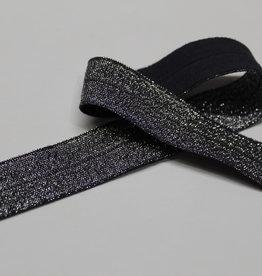 Elastisch biais - lint met vouwlijn zilver glitter blauw 19mm