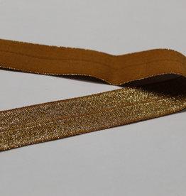 Elastisch biais - lint met vouwlijn zilver glitter oker 19mm