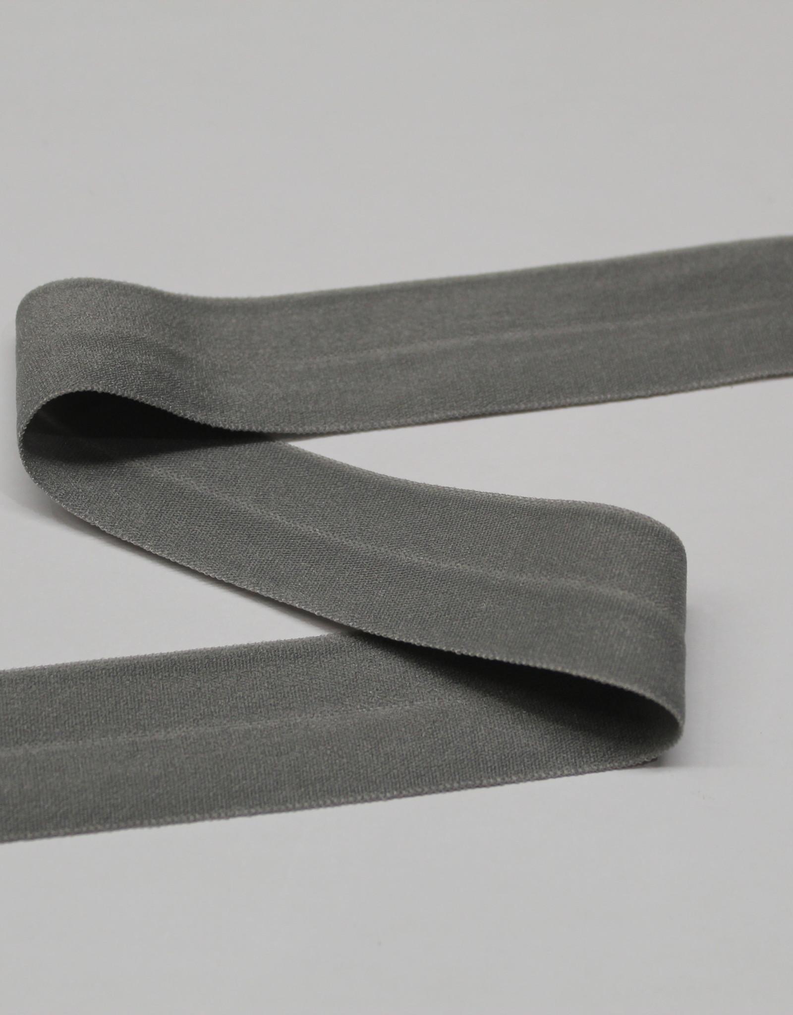 Elastisch biais - lint met vouwlijn grijs 20mm