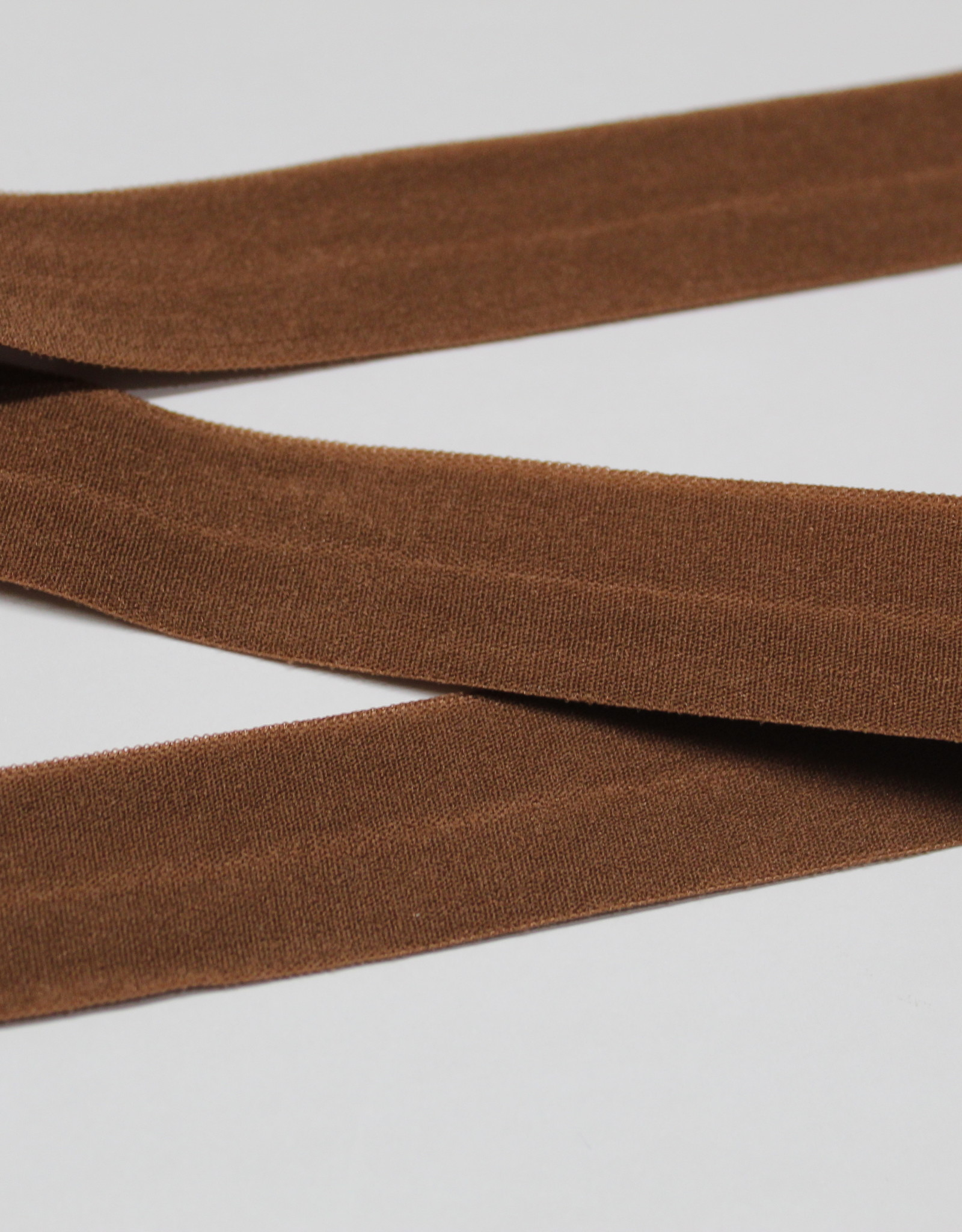 Elastisch biais - lint met vouwlijn bruin 20mm