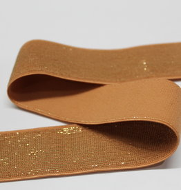Elastiek zalmroze gouden glitter 25mm