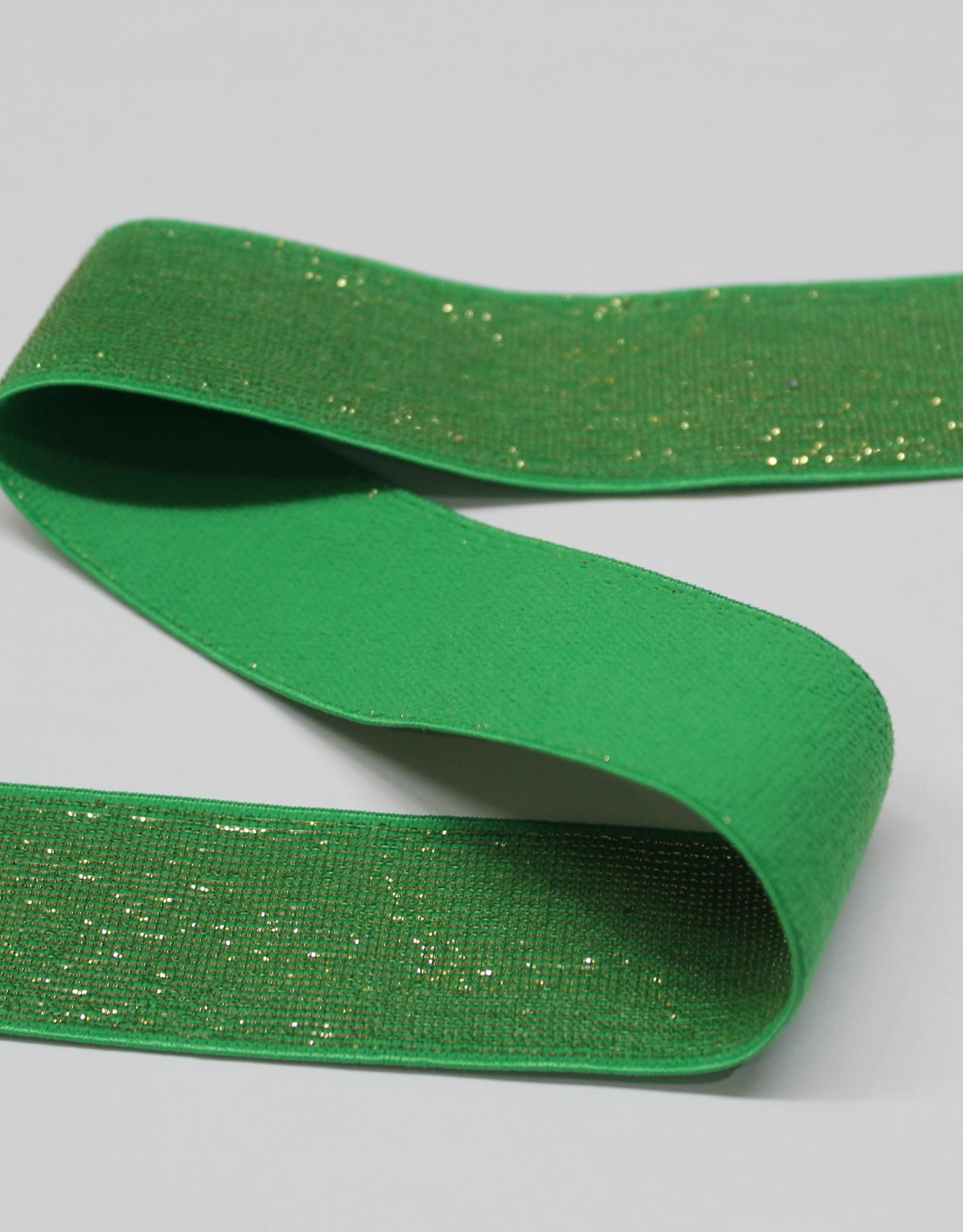 Elastiek groen gouden glitter 25mm