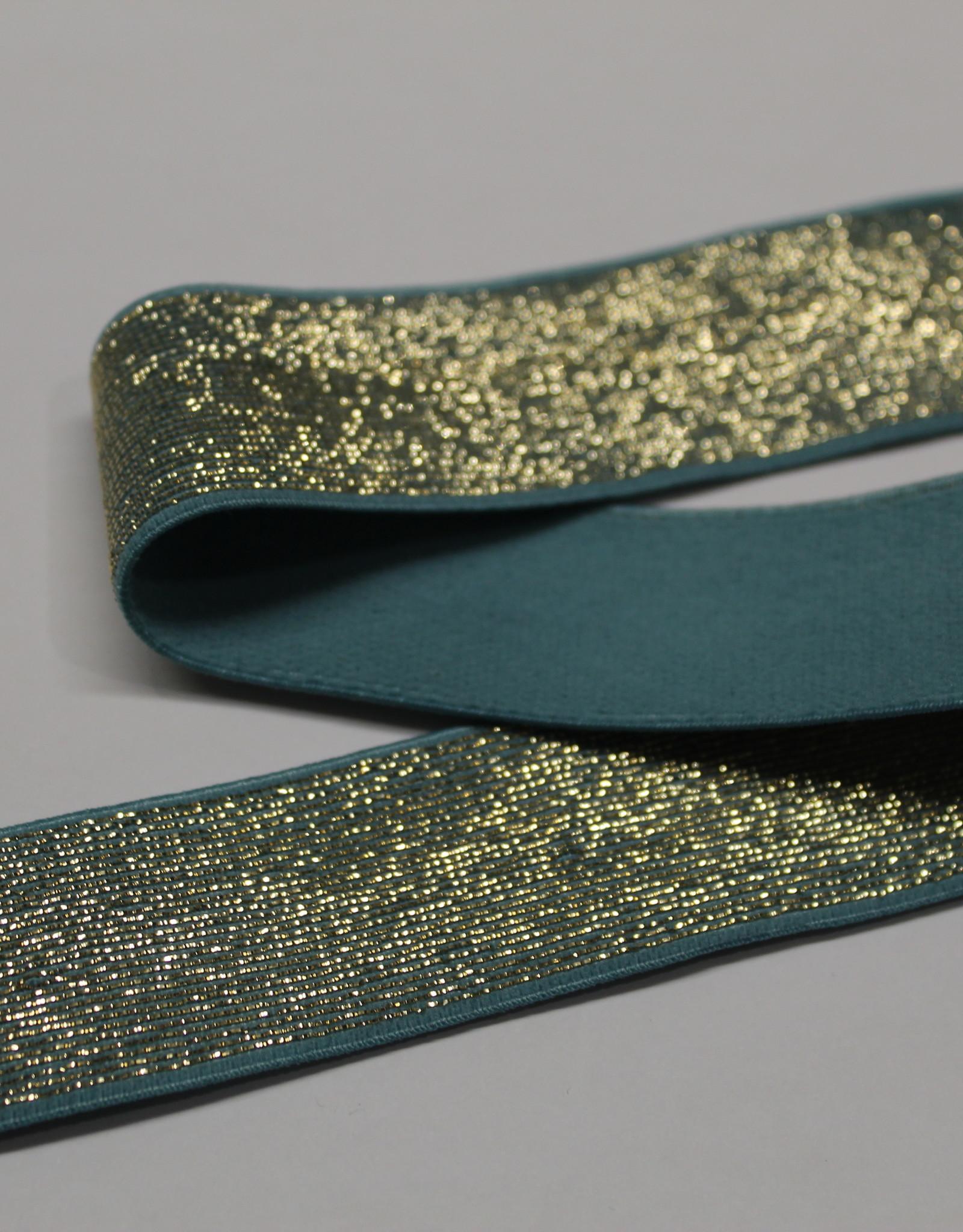 Elastiek petrol gouden glitter 25mm