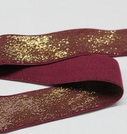 Elastiek aubergine gouden glitter 25mm