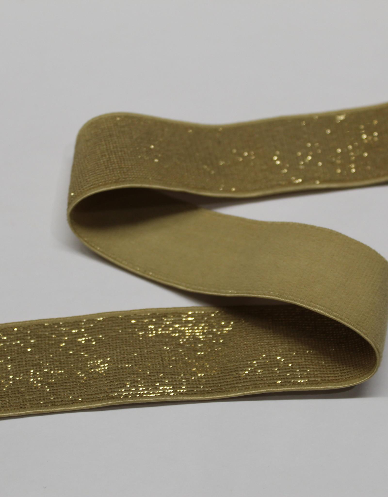 Elastiek beige gouden glitter 25mm