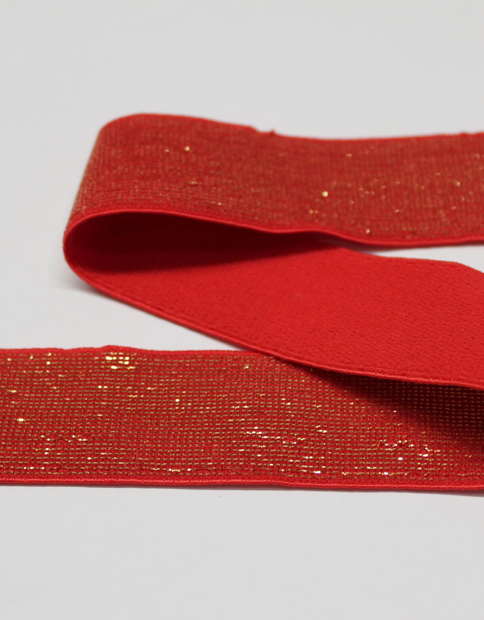 Elastiek rood gouden glitter 25mm