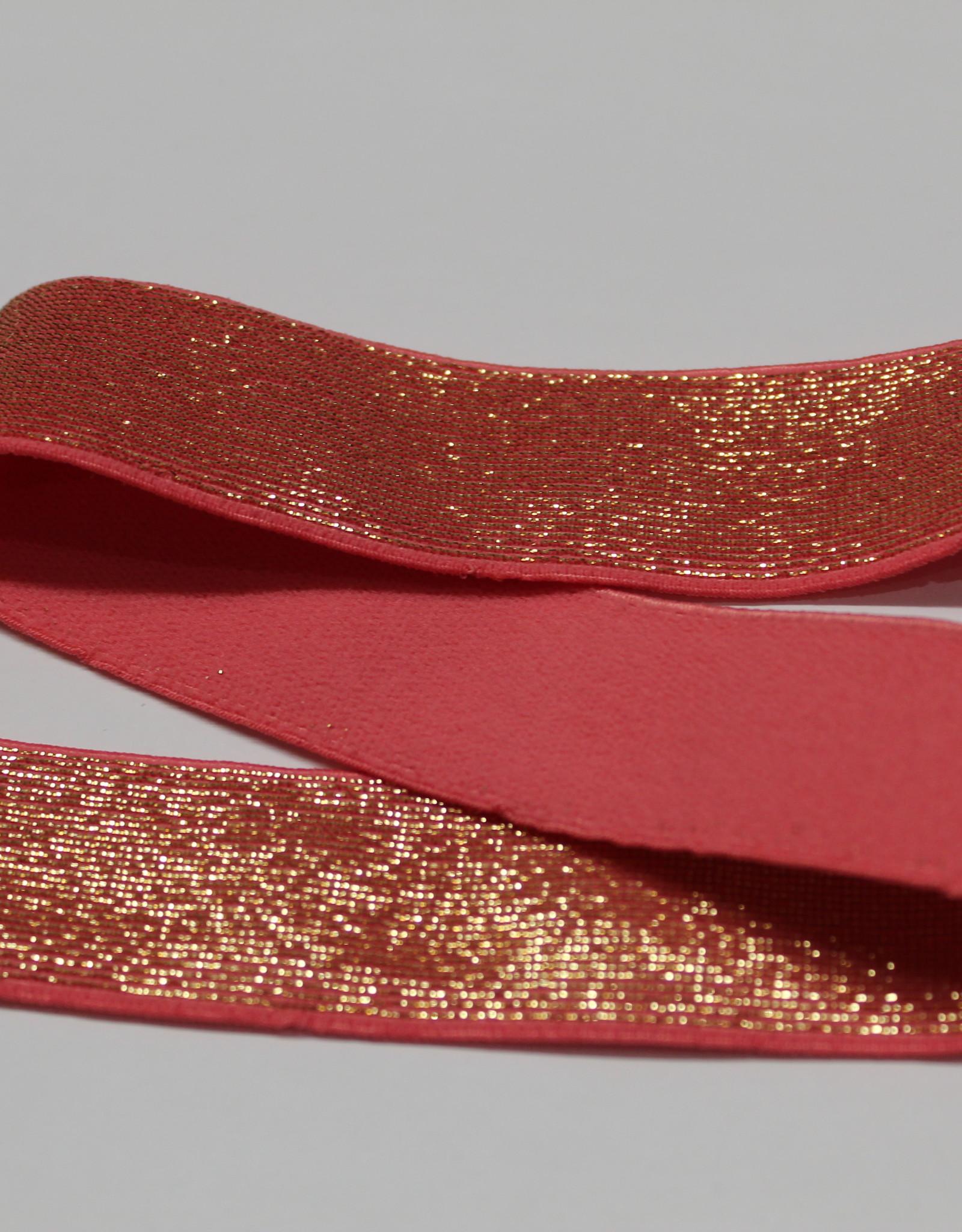 Elastiek roos gouden glitter 25mm